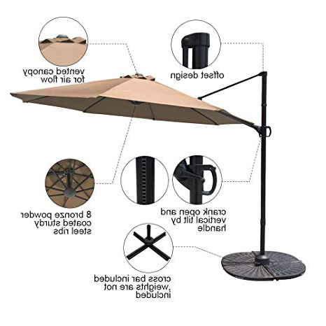 Fashionable Cockermouth Rotating Cantilever Umbrellas Inside Cobana 10Ft Cantilever Offset Patio Umbrella With Vertical Tilt And 360 Degree Rotation Function, Beige (View 11 of 25)