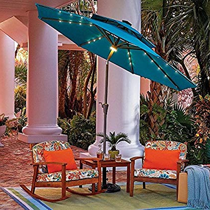 Fashionable Dena Rectangular Market Umbrellas Pertaining To 9' Double Top Solar Lighted Umbrella (Lake Blue) (View 16 of 25)