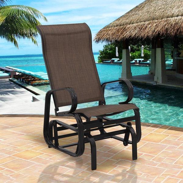 Fashionable Gries Rectangular Market Umbrellas Regarding Purchase Callen 49 Outdoor Patio Swing Glider Bench Chair – Dark (View 5 of 25)