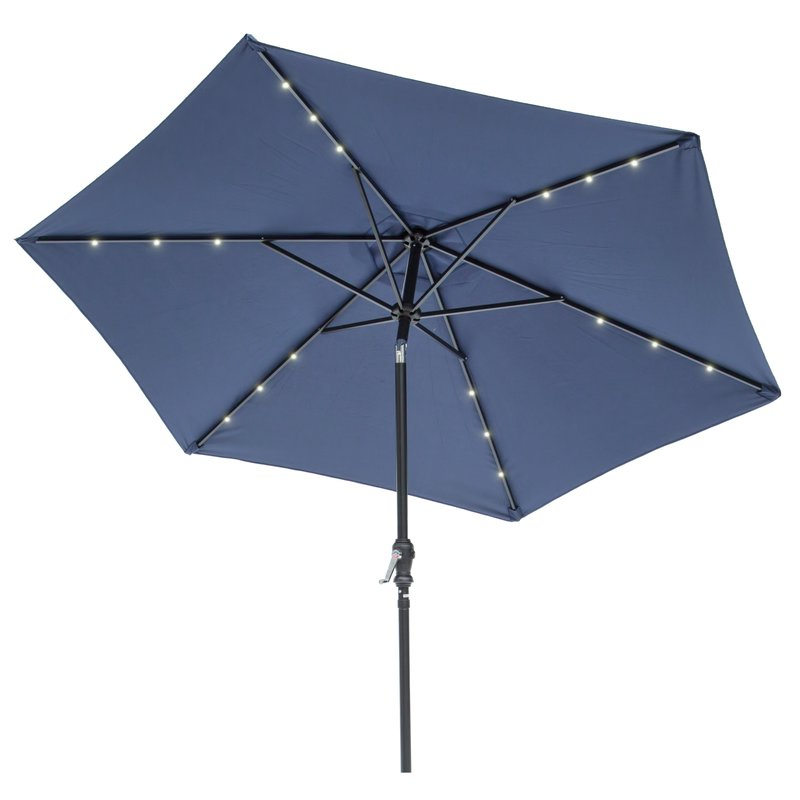 Fashionable Herlinda Solar Lighted 9' Market Umbrella Within Herlinda Solar Lighted Market Umbrellas (View 1 of 25)