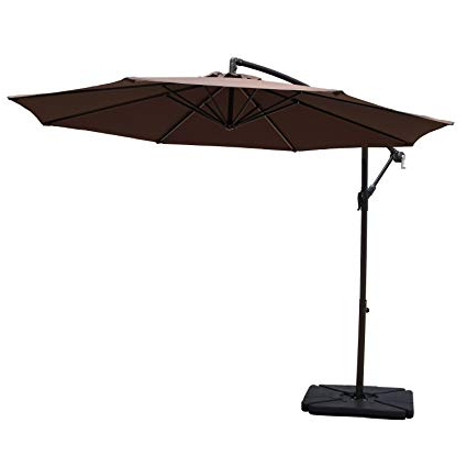 Fashionable Karr Cantilever Umbrellas With Cobana 10' Cantilever Freestanding Patio Umbrella Hanging Outdoor Umbrella  With Crank And Base, 250G/sqm Polyester, Coffee (View 13 of 25)