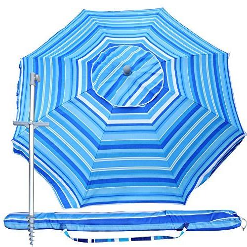 Fashionable Snail 7 Feet Vented Tilt Sand Anchor Built Travel Beach Umbrella W/  Telescoping Aluminum Pole And Carry Bag, Pool Sun Shade Shelter For Fishing  Patio, Inside Tilt Beach Umbrellas (View 19 of 25)