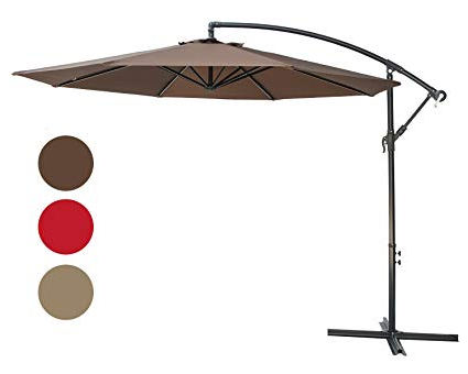 Fashionable Stacy Market Umbrellas With Regard To Sunbrano 10 Ft Cantilever Offset Patio Umbrella Outdoor Aluminum Hanging Umbrella With Crank And Air Vent, 8 Ribs, Coffee (View 10 of 25)