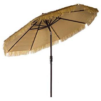 Fashionable Tropical Patio Umbrellas Throughout New 9' Wide Hawaiian Tiki Design 9' Thatch Patio Umbrella With Crank And Auto Tilt (9' Crank & Tilt, Natural) (View 10 of 25)
