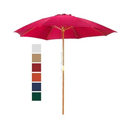 Favorite 9' Red Patio Umbrella – Outdoor Wooden Market Umbrella Product Sku: Ub58023 Pertaining To Docia Market Umbrellas (View 12 of 25)