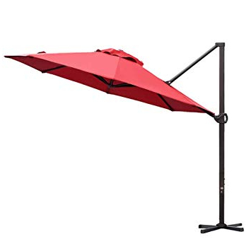 Favorite Abba Patio 11 Ft Offset Patio Umbrella With Crank Lift And Tilt And Cross  Base, Dark Red Inside Farnham Cantilever Umbrellas (View 10 of 25)