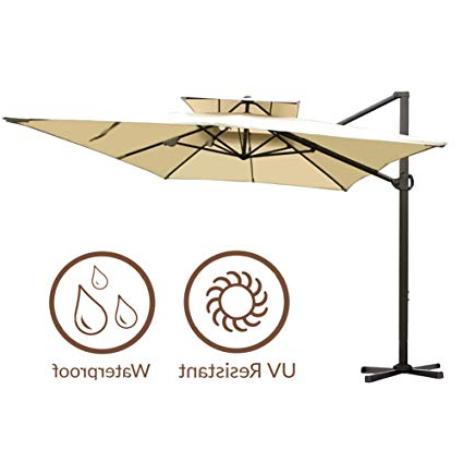 Favorite Abba Patio 912 Feet Rectangular Offset Cantilever Dual Wind Vent Patio  Hanging Umbrella With Cross Base, Beige With Regard To Fazeley  Rectangular Cantilever Umbrellas (View 2 of 25)