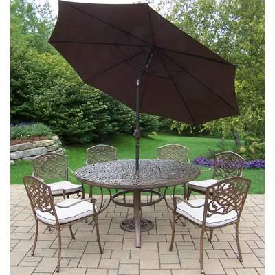 Favorite Cannock Market Umbrellas Pertaining To Oakland Living Mississippi Dining Set With Umbrella Oakland Living (View 18 of 25)