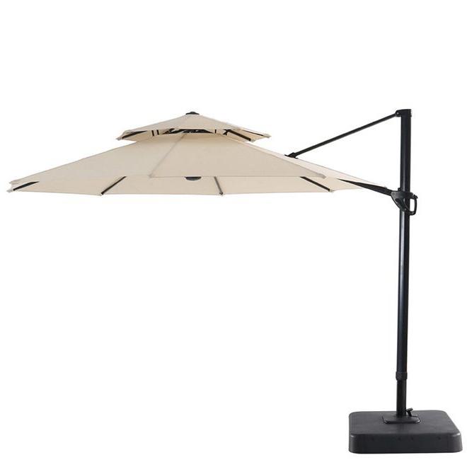 Favorite Elaina Cantilever Umbrellas Regarding Garden Treasures – Offset Patio Umbrella – Tiltable – 11' – Natural (View 15 of 25)