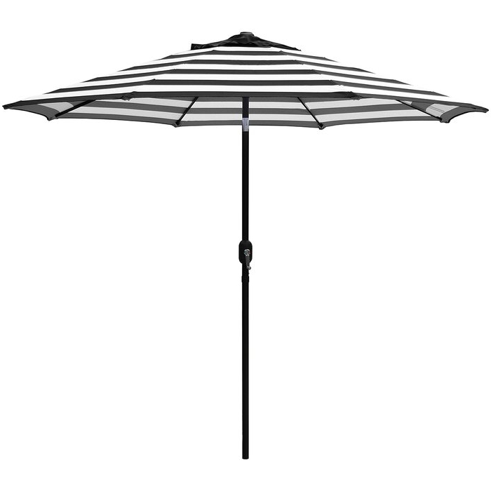 Favorite Jaida Stripe Crank And Tilt 9' Market Umbrella In Darwen Tiltable Patio Stripe Market Umbrellas (View 11 of 25)