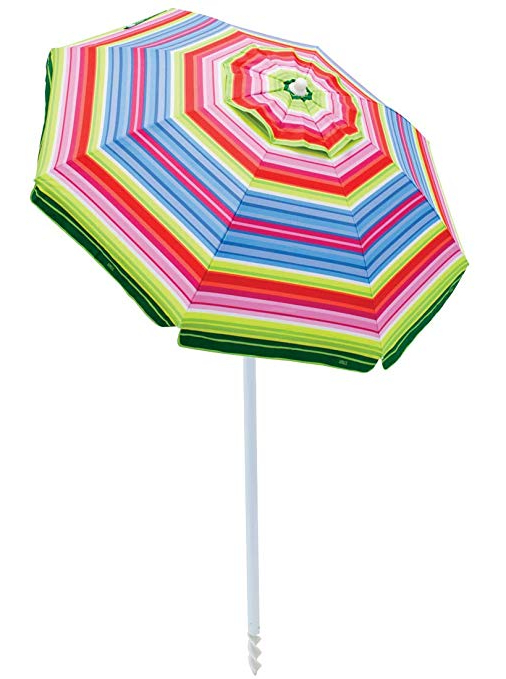Favorite Rio Beach 6 Foot Upf 50+ Beach Umbrella With Built In Sand Anchor With Margaritaville Green And Blue Striped Beach With Built In Sand Anchor Umbrellas (View 8 of 25)