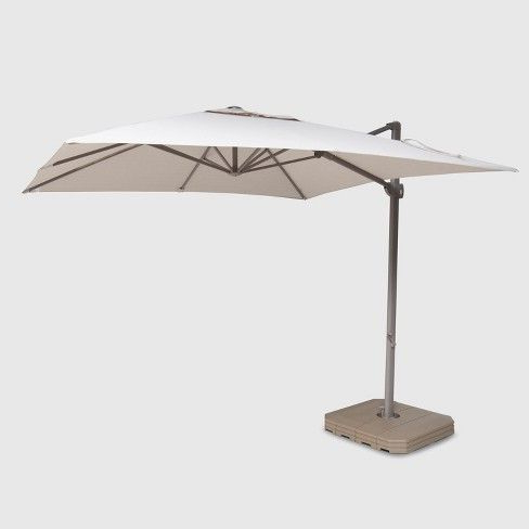 Fazeley  Rectangular Cantilever Umbrellas With Best And Newest 10' Square Offset Patio Umbrella Ash Pole – Project 62™ In  (View 17 of 25)