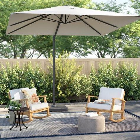 Fazeley  Rectangular Cantilever Umbrellas With Regard To Favorite 11' Led Solar Round Cantilever Umbrella (View 20 of 25)