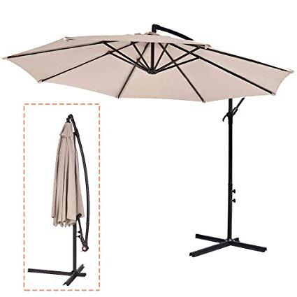 Fdw Beige Patio Umbrella Offset 10' Hanging Umbrella Outdoor Market  Umbrella D10 In Most Recently Released Hurt Market Umbrellas (View 9 of 25)