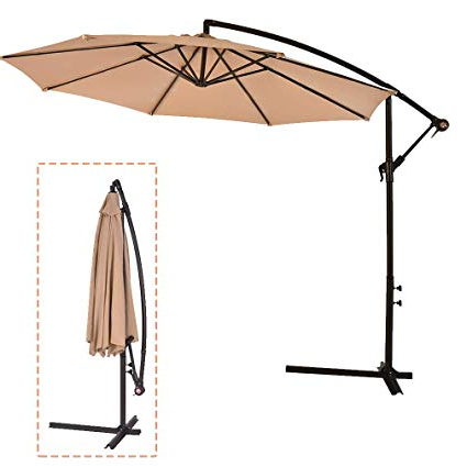 Fdw Patio Cantilever Offset Umbrella Market Deck Outdoor 10' Hanging With  Base For Garden Backyard Poolside, Tan Pertaining To Best And Newest Crowborough Square Market Umbrellas (View 13 of 25)