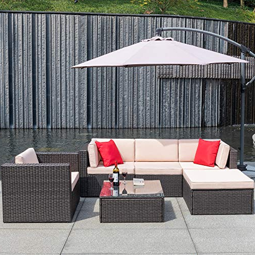Flamaker 6 Pieces Patio Furniture Set Outdoor Sectional Sofa Outdoor  Furniture Set Patio Sofa Set Conversation Set With Cushion And Table (Beige) Throughout 2018 Dore Patio Cantilever Umbrellas (View 18 of 25)