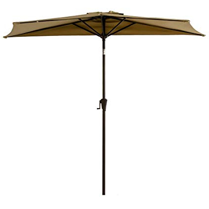 Flame&shade 9Ft Half Outdoor Patio Umbrella Market Style With Tilt For  Outside Balcony Sun Deck Or Terrace Shade, Beige Throughout Most Up To Date Half Round Market Umbrellas (View 11 of 25)