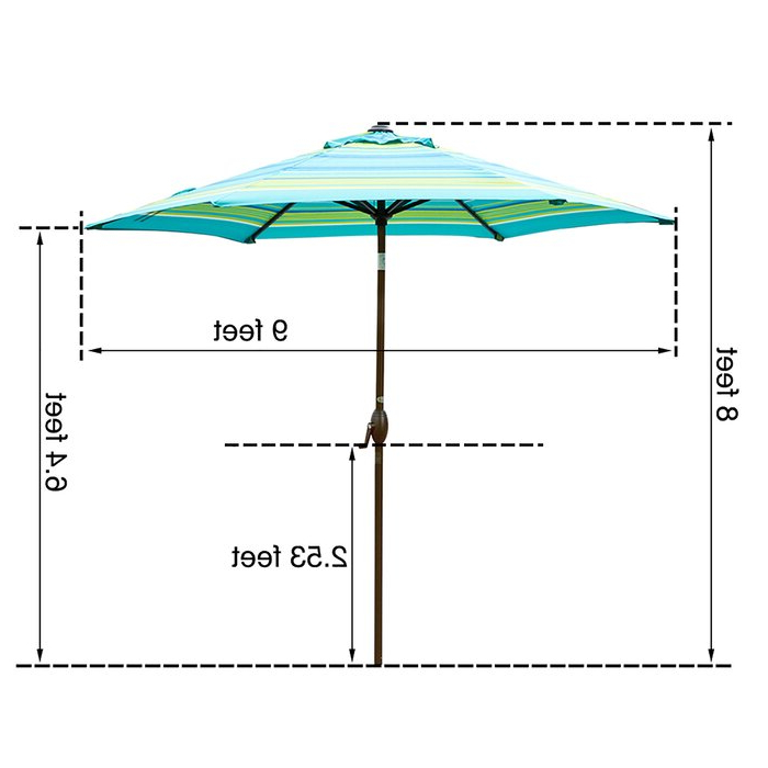 Flitwick Market Umbrellas Intended For 2017 Flitwick 9' Market Umbrella (View 2 of 25)