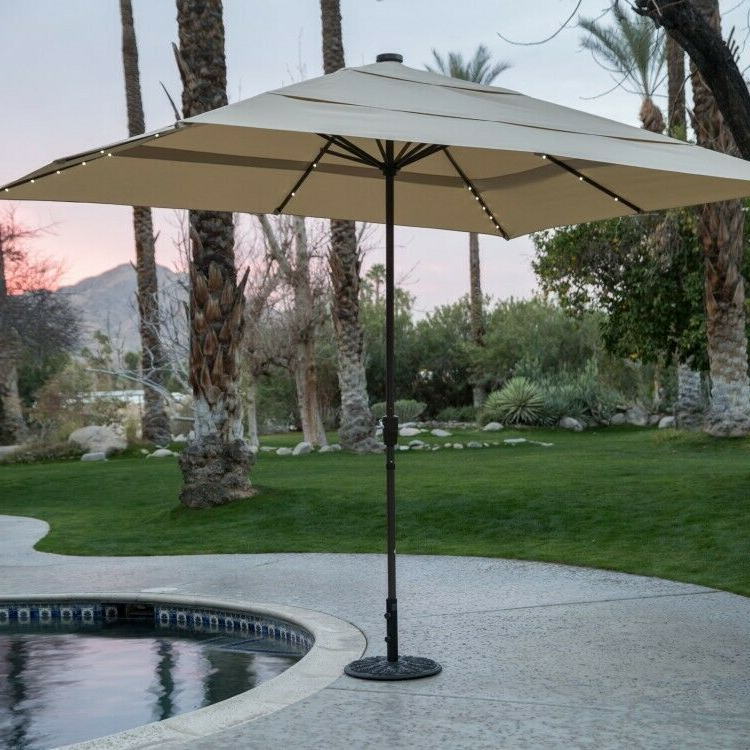 Fordwich  Rectangular Cantilever Umbrellas For Widely Used Details About Gray Rectangular Aluminum Market Umbrella Solar (View 22 of 25)