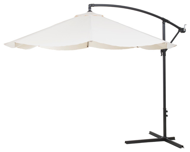 Frederick Square Cantilever Umbrellas Inside Well Liked Pure Garden Offset 10' Aluminum Hanging Patio Umbrella, Tan (View 11 of 25)