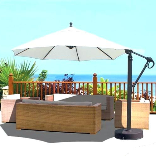 Free Standing Umbrella Off Best Free Standing Umbrella Base With Recent Trotman Cantilever Umbrellas (View 24 of 25)