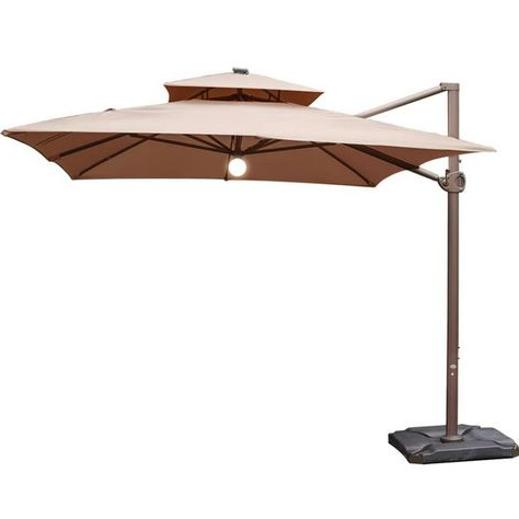Geneva 9Ft Square Patio Canopy Umbrella With Stand – Mocha Within Recent Fazeley  Rectangular Cantilever Umbrellas (View 19 of 25)