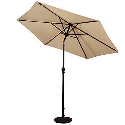 Giantex 9Ft Market Patio Umbrella W/solar Lights, Outdoor Table Umbrella  W/push Button Tilt And Crank, For Market Garden Beach Pool Intended For Newest Hurt Market Umbrellas (View 20 of 25)