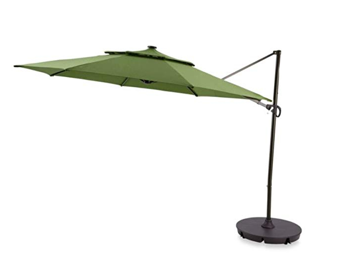 Gribble Cantilever Umbrellas Intended For Current Destination Summer Outdoor Patio Cantilever Umbrella 11 Foot Round Canopy  With Solar Powered Lights Includes Base And Storage Cover (Salsa) (View 8 of 25)