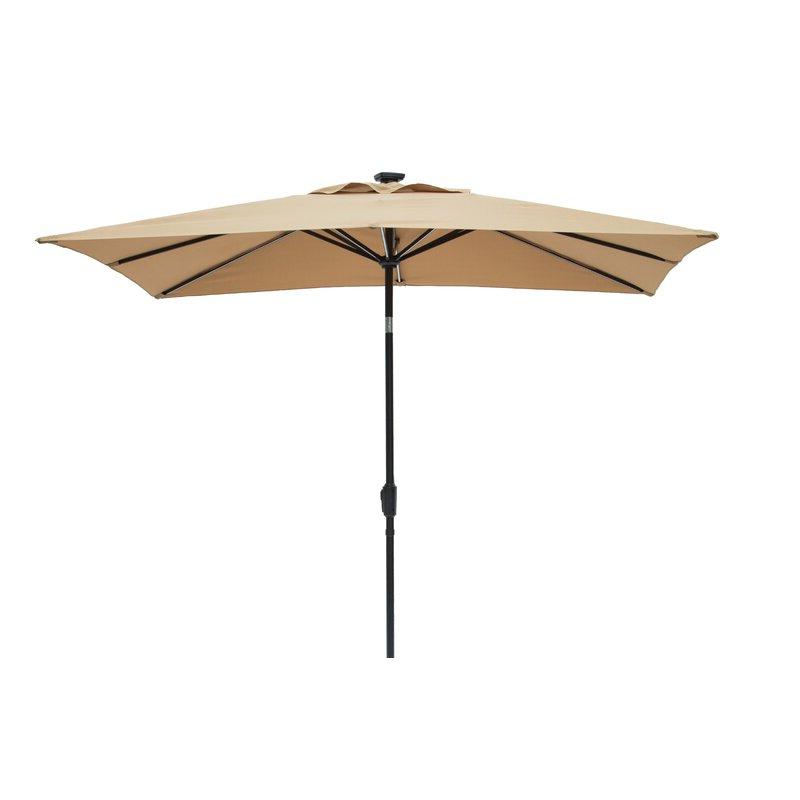 Gries Rectangular Market Umbrellas Intended For Favorite Harriette Solar Lighted 9' X 7' Rectangular Market Umbrella (View 8 of 25)