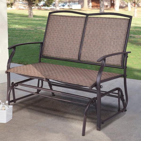 Gries Rectangular Market Umbrellas Regarding Best And Newest Purchase Callen 49 Outdoor Patio Swing Glider Bench Chair – Dark (View 9 of 25)