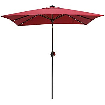 Griselda Solar Lighted  Rectangular Market Umbrellas Within Preferred Amazon : Abba Patio 97 Feet Rectangular Patio Umbrella With (View 15 of 25)