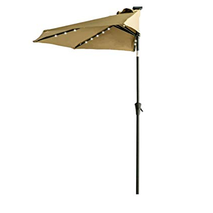 Half Round Market Umbrellas Inside Most Up To Date Flame&shade 9' Solar Led Lighted Half Outdoor Market Umbrella With Solar  Lights And Tilt For Patio Balcony Or Deck Shade, Beige (View 8 of 25)