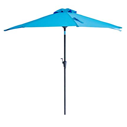 Half Round Market Umbrellas Pertaining To Famous Flame&shade 9' Half Round Outdoor Patio Market Umbrella With Tilt For  Balcony Deck Garden Or Terrace Shade, Aqua Blue (View 7 of 25)