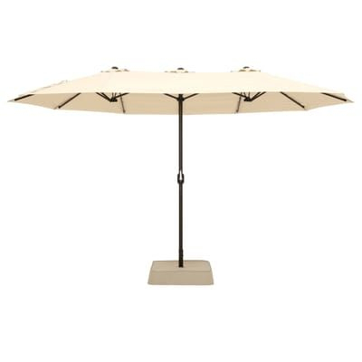 Hampton Bay 8.8 Ft. X 14 Ft. Triple Vent Patio Umbrella In Beige with regard to Newest Stacy Market Umbrellas