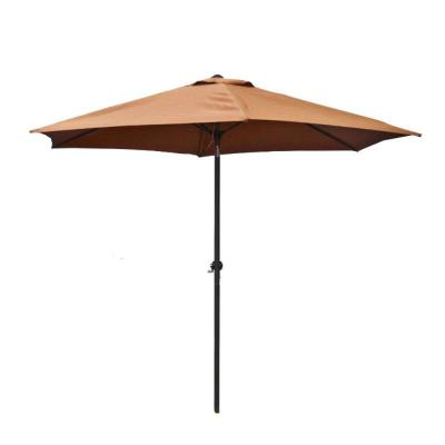 Hampton Bay 9 Ft. Steel Crank And Tilt Patio Umbrella In Cafe Yjauc In Most Recent Kenn Market Umbrellas (Gallery 12 of 25)