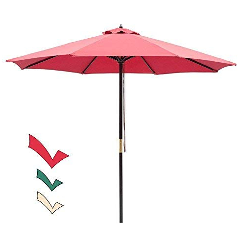 Hapeville Market Umbrellas Pertaining To Fashionable Market Umbrella 9 Ft: Amazon (Gallery 9 of 25)