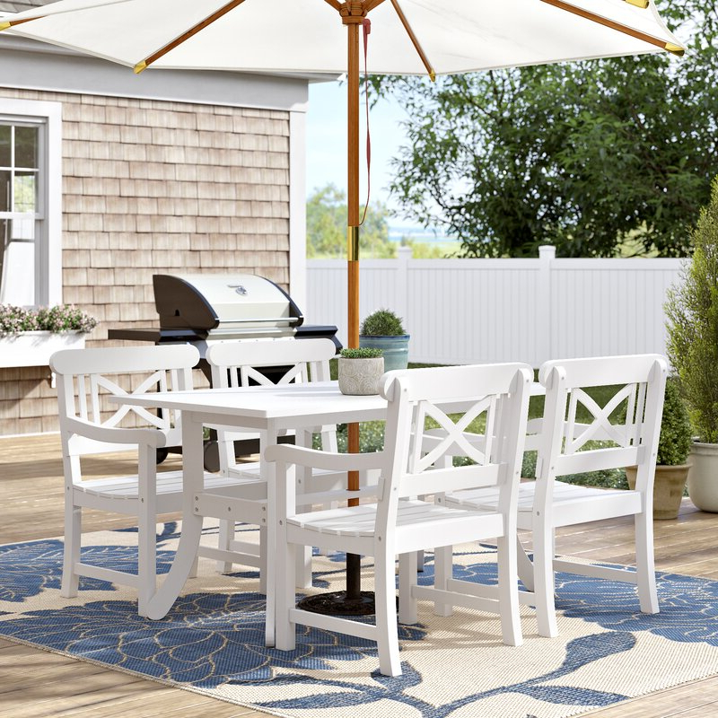 Hatten 5 Piece Dining Set In Current Hatten Market Umbrellas (View 10 of 25)