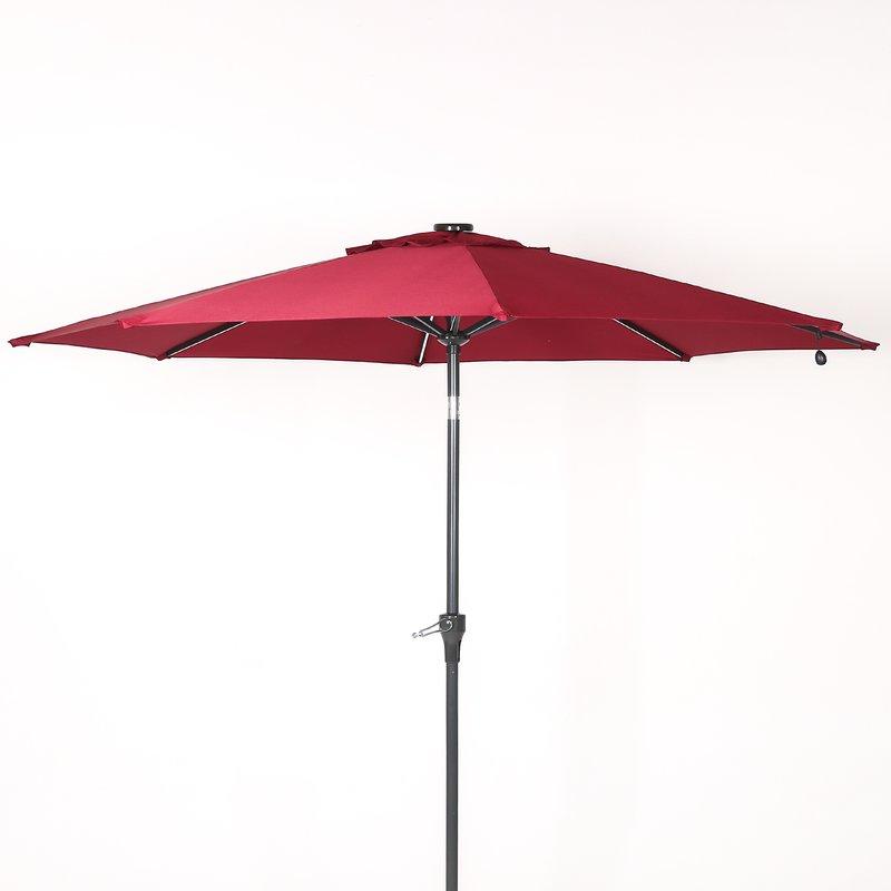 Hatter 9' Market Umbrella With Regard To Best And Newest Hettie Solar Lighted Market Umbrellas (Gallery 4 of 25)