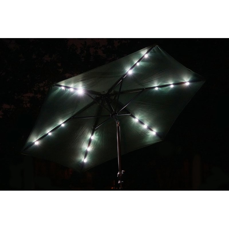 Herlinda Solar Lighted 9' Market Umbrella Intended For Newest Herlinda Solar Lighted Market Umbrellas (View 4 of 25)