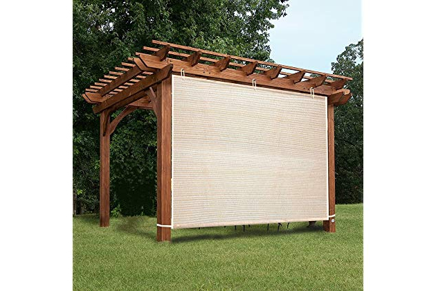 Herlinda Solar Lighted Market Umbrellas For Well Known Amazon: Easy2Hang Ez2Hang Outdoor Shade Cloth Vertical Side Wall (View 14 of 25)