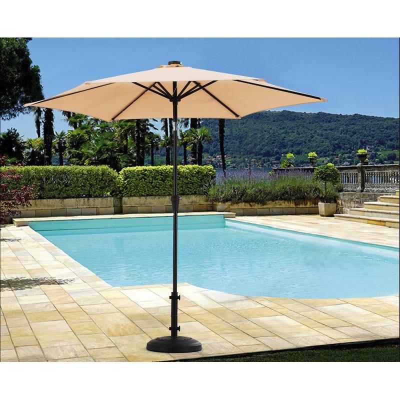 Hettie Solar Lighted Market Umbrellas Inside Best And Newest Ellett 9' Market Umbrella (View 10 of 25)
