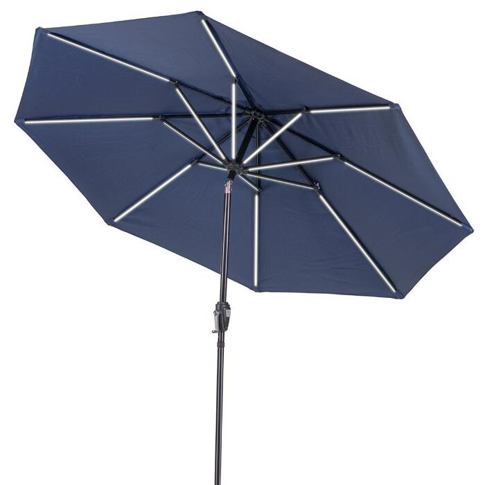 Hettie Solar Lighted Market Umbrellas Pertaining To Trendy Sun Ray Next Gen Solar Round 9' Market Umbrella (View 3 of 25)