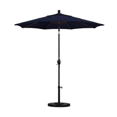 Hookton Crank Market Umbrellas In Current California Umbrella 9 Ft. Aluminum Auto Tilt Patio Umbrella In Navy (Gallery 11 of 25)