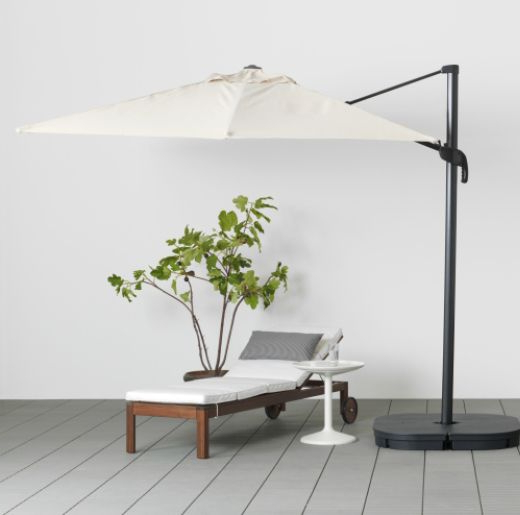 Ikea Seglaro Hanging Outdoor Umbrella And Svarto Base (View 9 of 25)