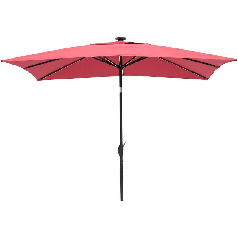 Irene 9' X 7' Rectangular Lighted Umbrella Inside Trendy Pau Rectangular Market Umbrellas (Gallery 6 of 25)