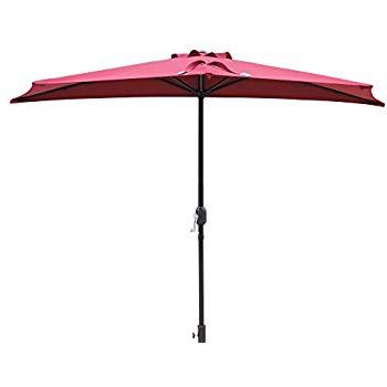 Island Umbrella Nu5409Br Lanai Half Patio, Burgundy with regard to Most Up-to-Date Lanai Market Umbrellas