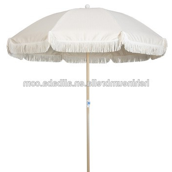 Isom Market Umbrellas throughout Most Up-to-Date 200Cm Outdoor Aluminum Wooden Coated Beach Umbrella Tassels From