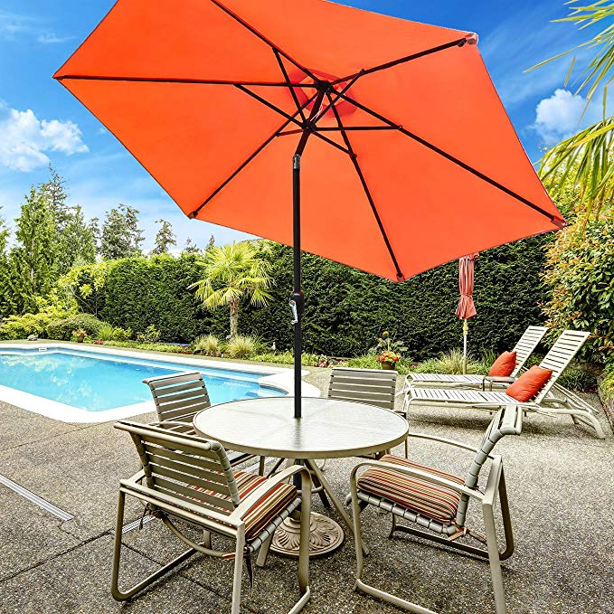 Isom Market Umbrellas Throughout Preferred Sorbus Outdoor Umbrella, 10 Ft Patio Umbrella With Tilt Adjustment And  Crank Lift Handle, Perfect For Backyard, Patio, Deck, Poolside, And More (Gallery 14 of 25)