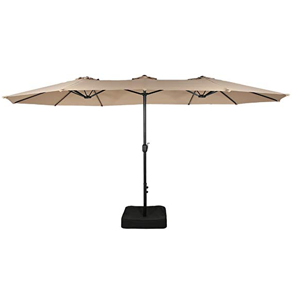 Iwicker 15 Ft Double-Sided Patio Umbrella Outdoor Market Umbrella With  Crank, Umbrella Base Included (Beige) intended for Most Recent Mullaney Market Umbrellas