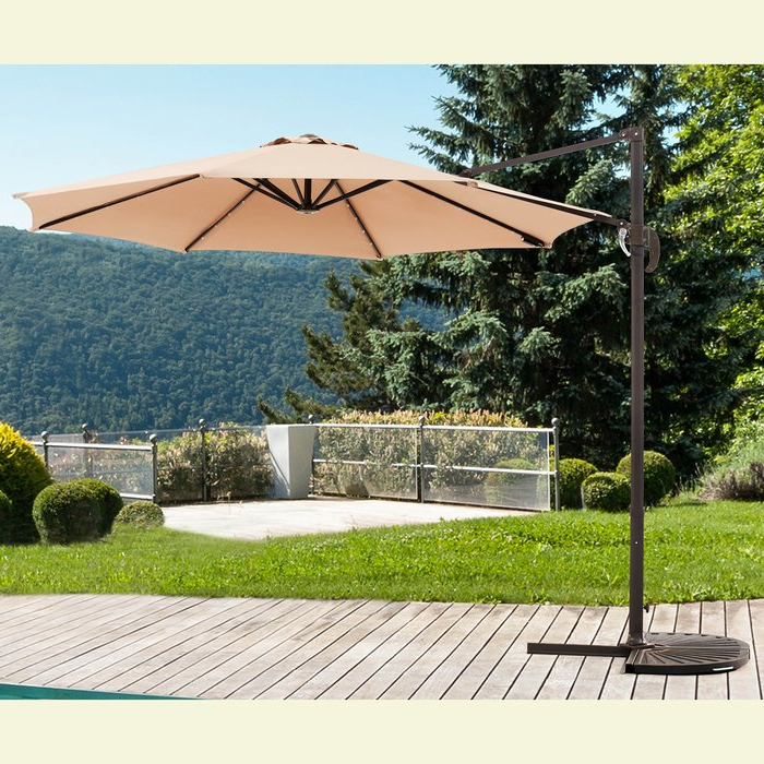 Iyanna Cantilever Umbrellas Throughout Well Known Kulick 9.5' Cantilever Umbrella (Gallery 14 of 25)